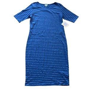 Lularoe Julia Dress NEW Blue Striped Large Stripe